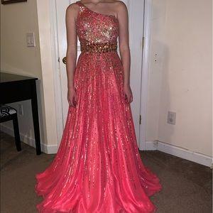 Sherry hill pink sequin dress